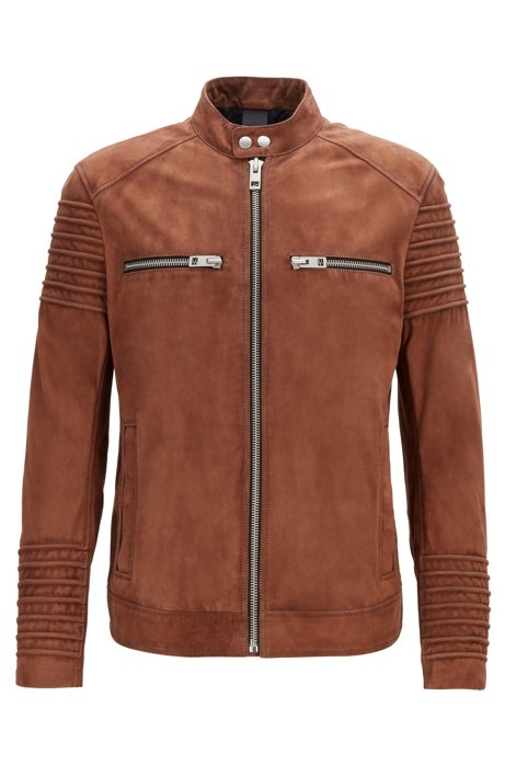 Slim-fit biker jacket in goat suede, Brown