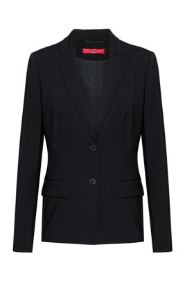 Longer-length jacket in lightly worsted stretch virgin wool, Black