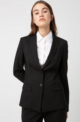 Veste longue en laine vierge stretch légèrement peignée, Noir