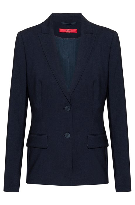 Longer-length jacket in lightly worsted stretch virgin wool, Dark Blue