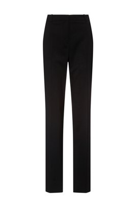 Regular-Fit Hose aus leicht gekämmter Stretch-Schurwolle, Schwarz