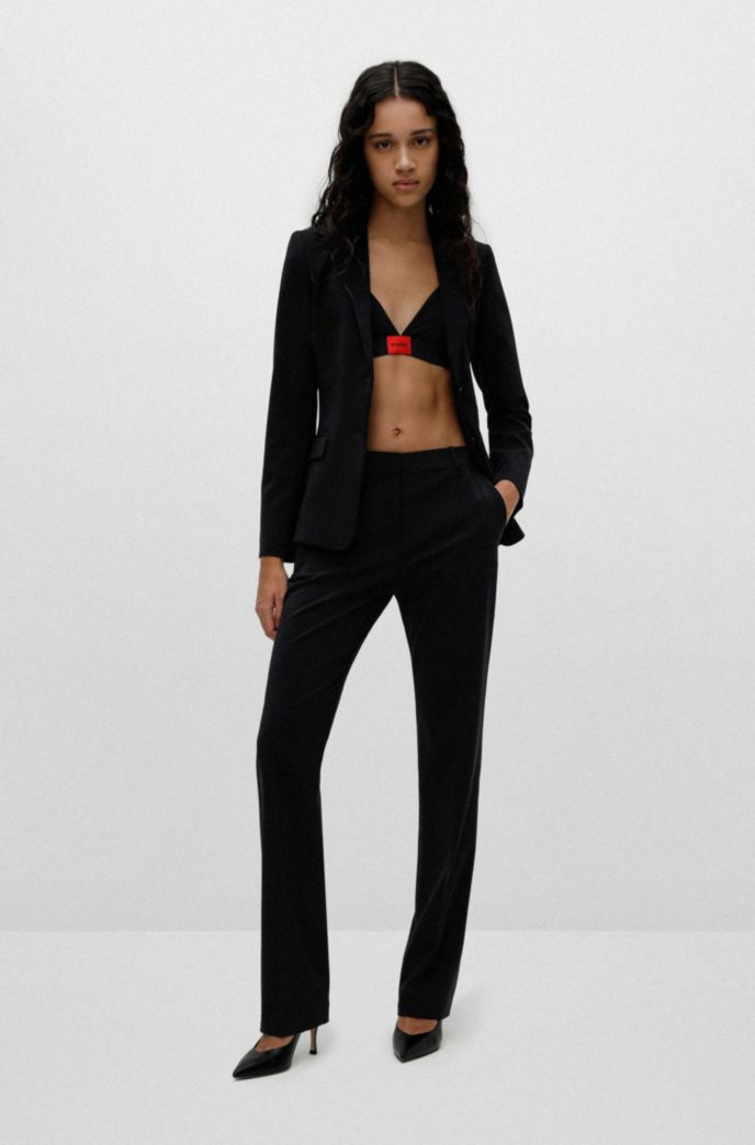 Regular-fit trousers in lightly worsted stretch virgin wool