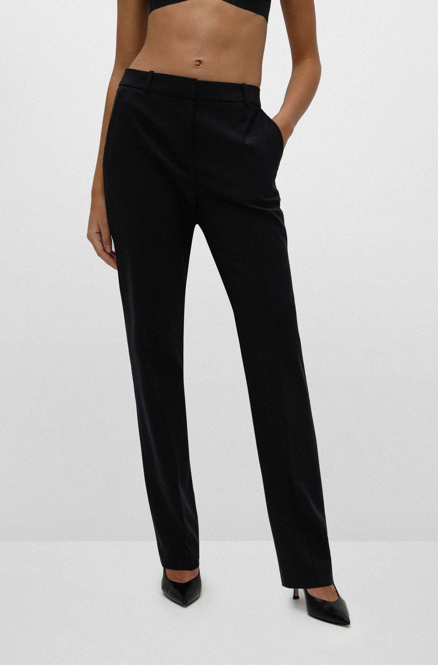 Regular-fit trousers in lightly worsted stretch virgin wool, Black