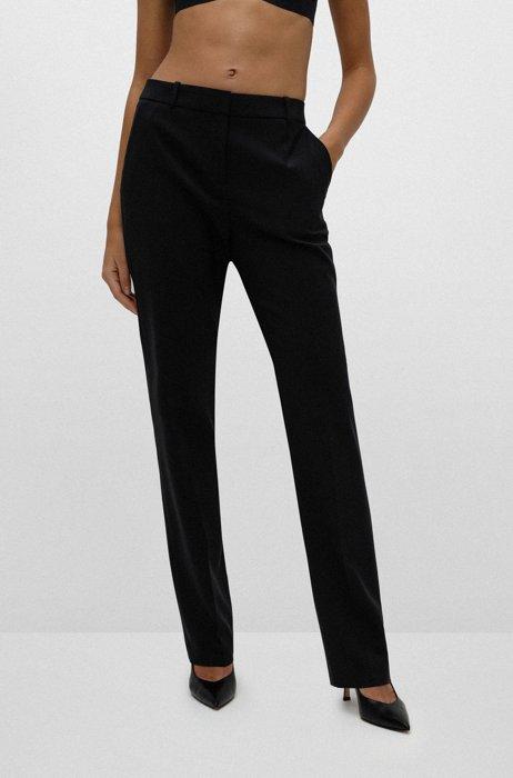 Regular-fit broek van lichtgekamde scheerwol met stretch, Zwart
