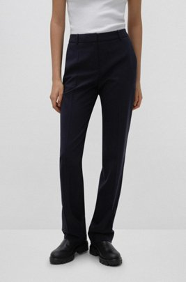 Regular-fit trousers in lightly worsted stretch virgin wool, Dark Blue