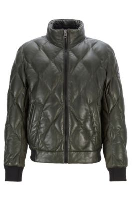 6b21edb431e Quilted bomber jacket in olive-tanned leather