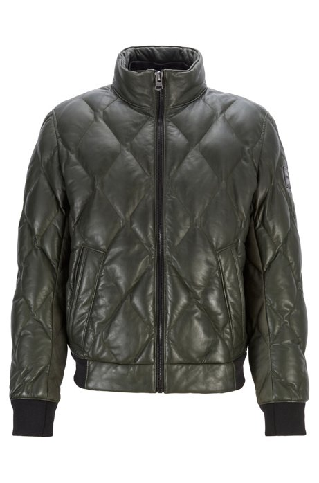 Quilted bomber jacket in olive-tanned leather, Open Green