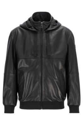 652495edb19 Relaxed-fit leather bomber jacket with hood