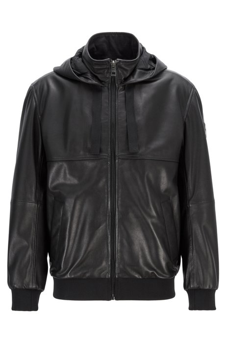 Relaxed-fit leather bomber jacket with hood, Black
