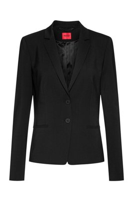 Regular-fit jacket in crease-resistant stretch wool, Black