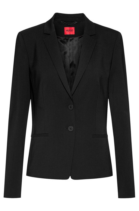 Short-length jacket in lightly worsted stretch virgin wool, Black
