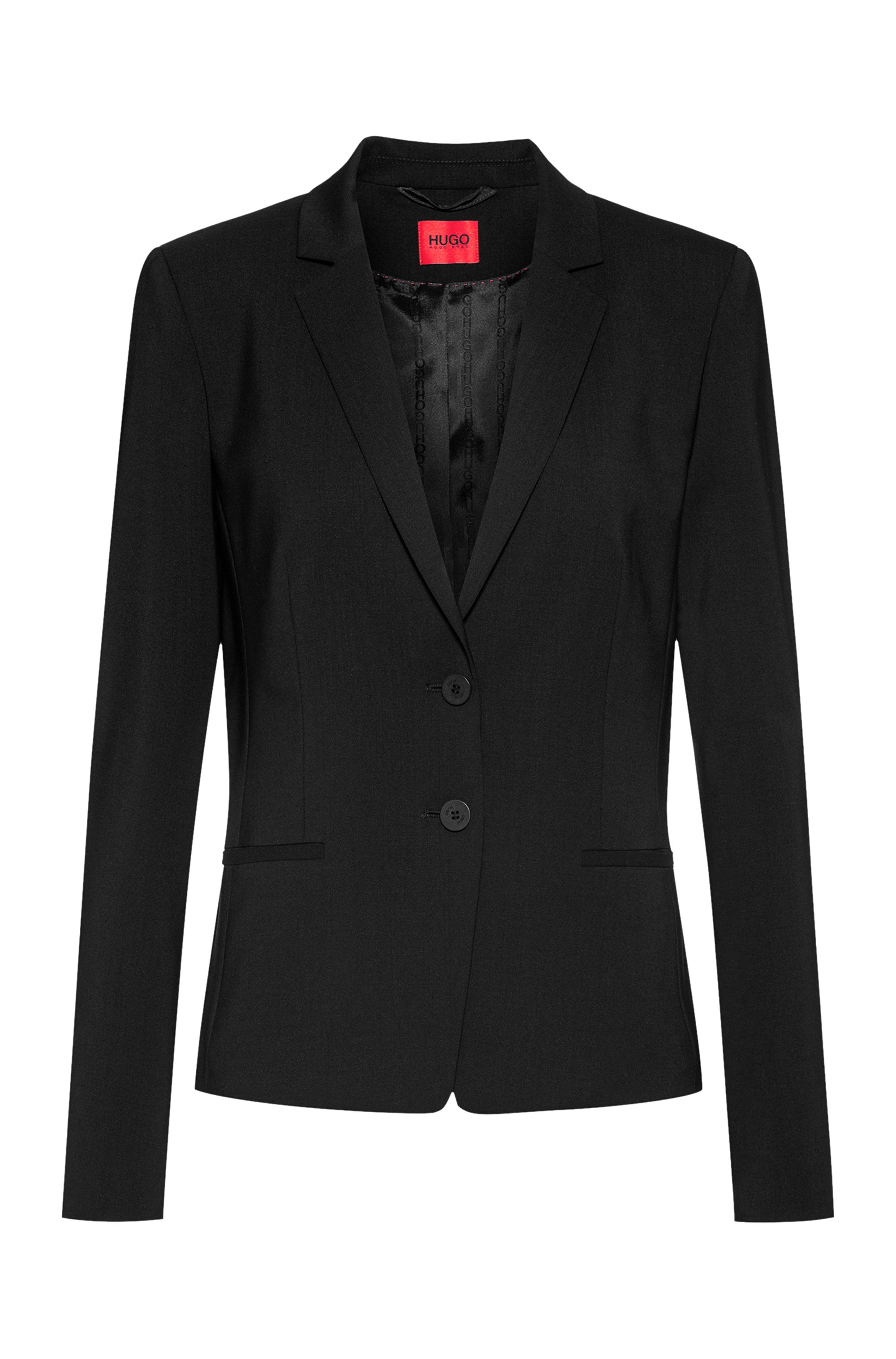 Regular-Fit Blazer aus knitterfreier Stretch-Schurwolle, Schwarz