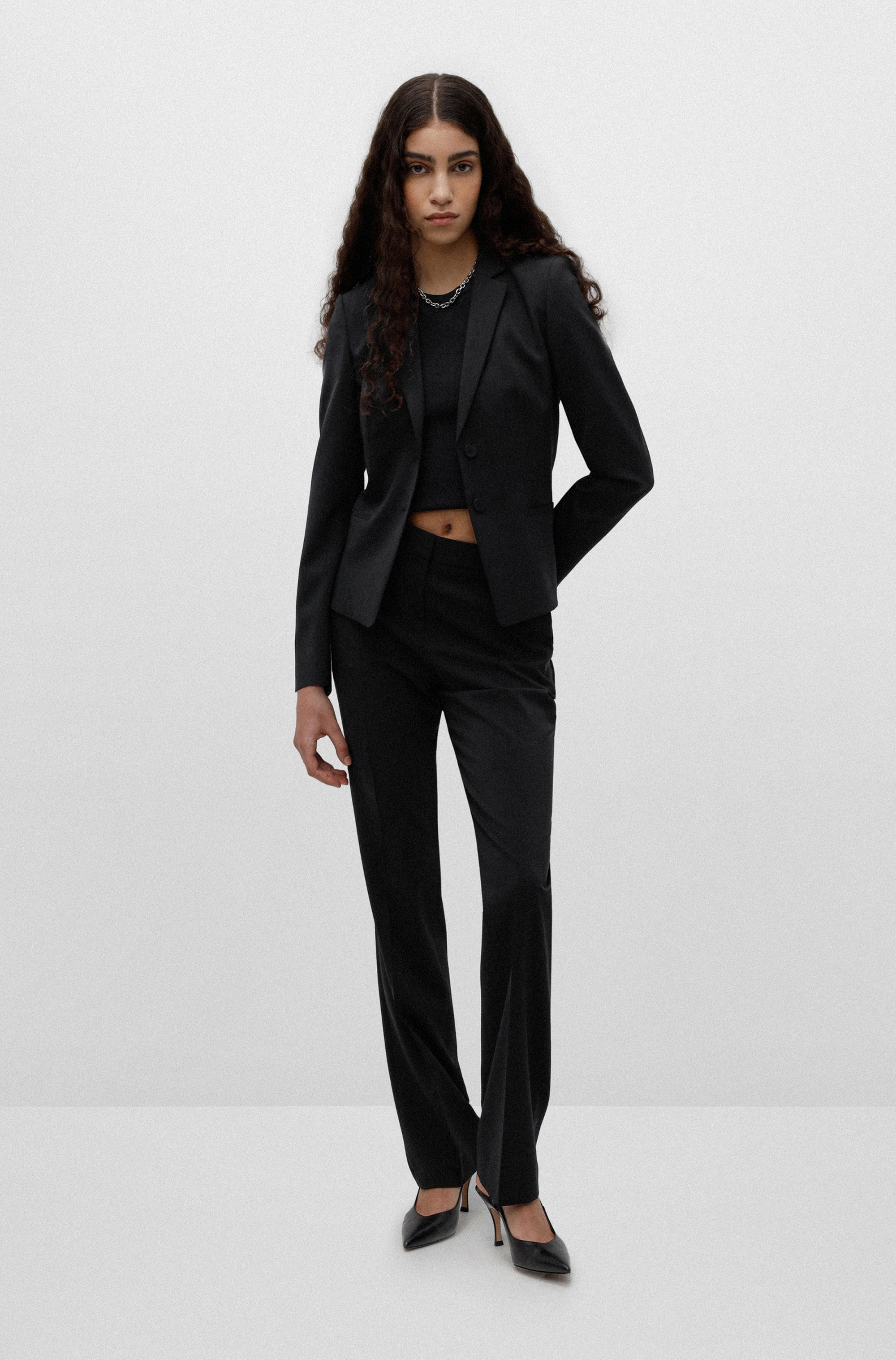 Regular-Fit Blazer aus knitterfreier Stretch-Schurwolle