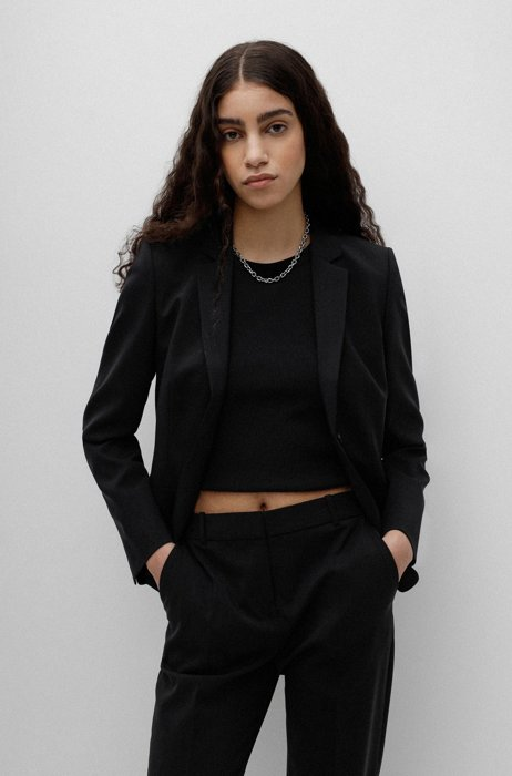 Regular-fit jacket in crease-resistant stretch wool, Black