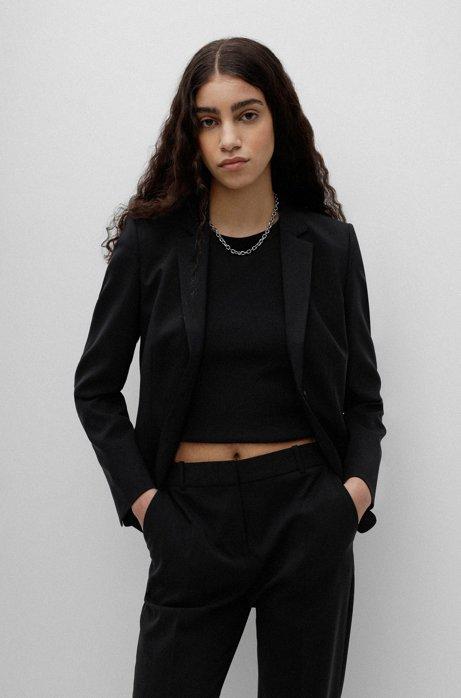 Kurzblazer aus leicht gekämmter Stretch-Schurwolle, Schwarz