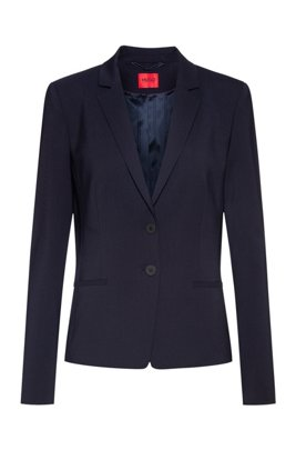 Regular-fit jacket in crease-resistant stretch wool, Dark Blue