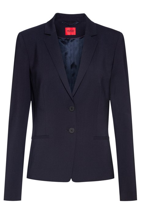 Short-length jacket in lightly worsted stretch virgin wool, Dark Blue