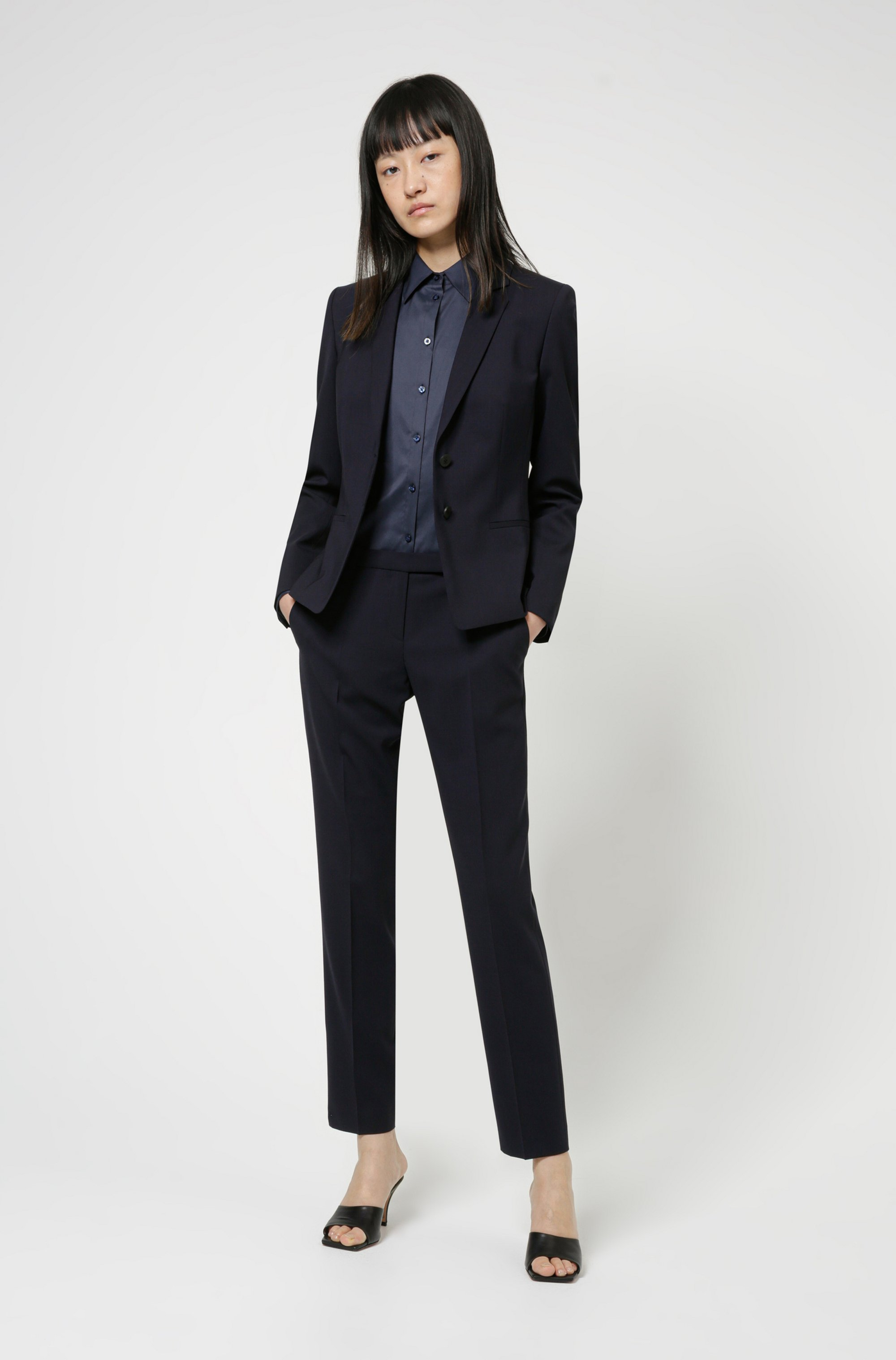 Regular-fit jacket in crease-resistant stretch wool