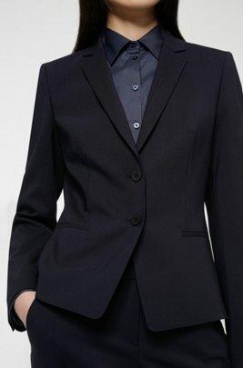 Regular-Fit Blazer aus knitterfreier Stretch-Schurwolle, Dunkelblau