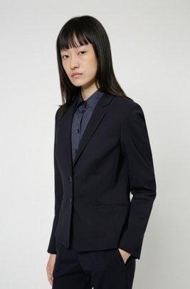 Regular-fit jacket in crease-resistant stretch wool, Dark Blue