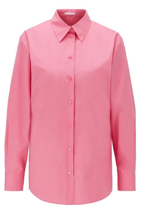 Oversized-fit blouse in stretch-cotton poplin, light pink