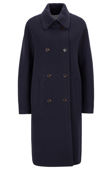 Zweireihiger Relaxed-Fit Mantel aus gefilztem Woll-Mix mit Kaschmir, Dunkelblau