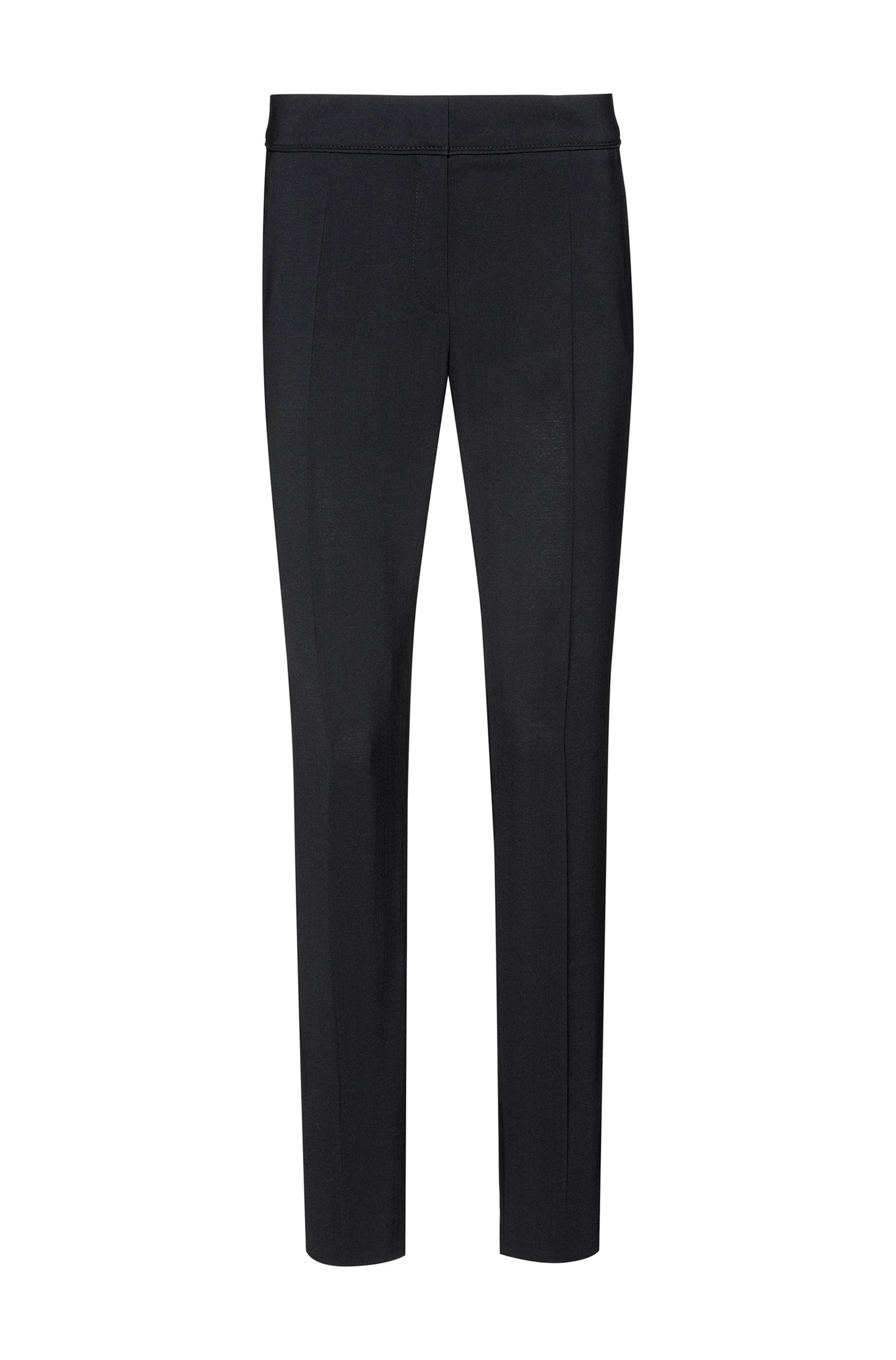 Pantalones regular fit tobilleros en lana virgen elástica, Negro