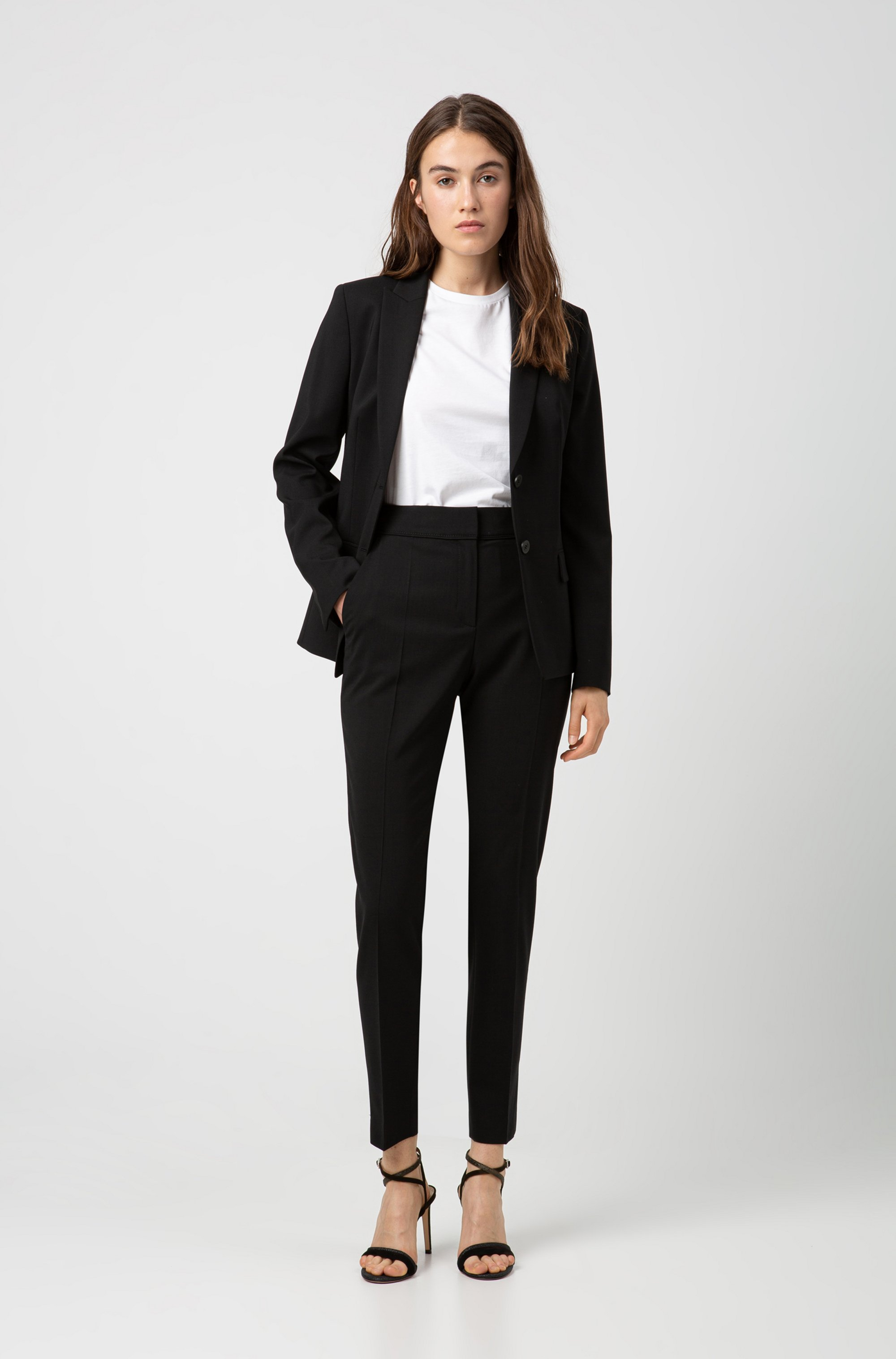 Regular-fit cropped trousers in stretch virgin wool