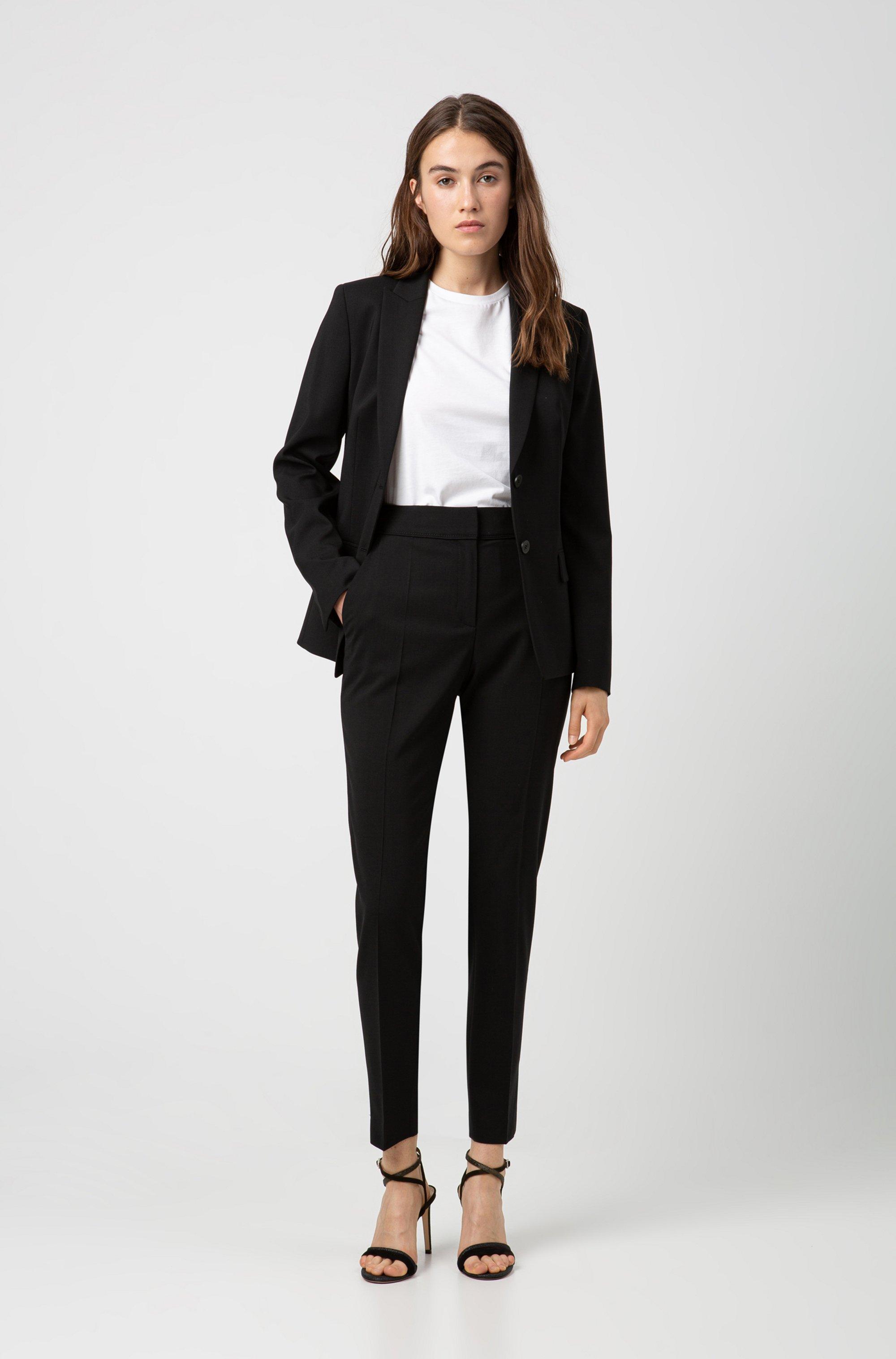 Pantalones regular fit tobilleros en lana virgen elástica