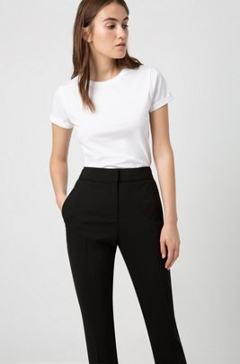 Pantalon court Regular Fit en laine vierge stretch, Noir