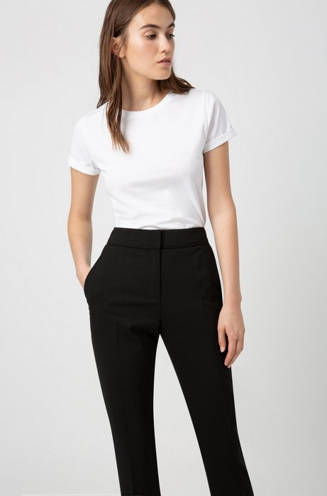 Regular-fit cropped trousers in stretch virgin wool, Black