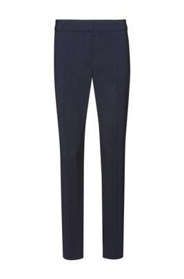 Pantalon court Regular Fit en laine vierge stretch, Bleu foncé