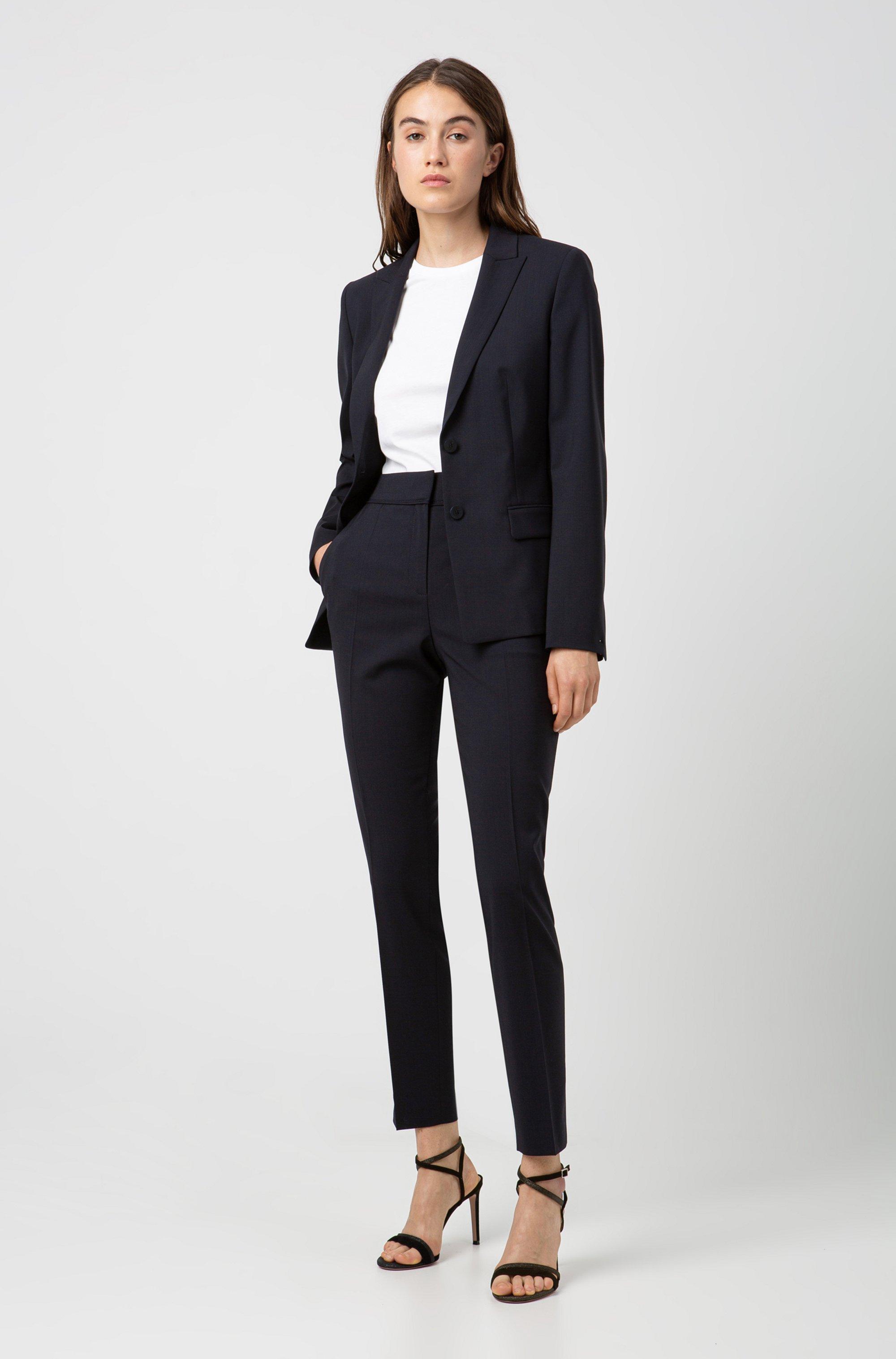 Regular-fit kortere broek van scheerwol met stretch