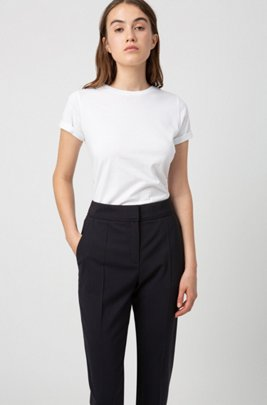 Regular-fit cropped trousers in stretch virgin wool, Dark Blue