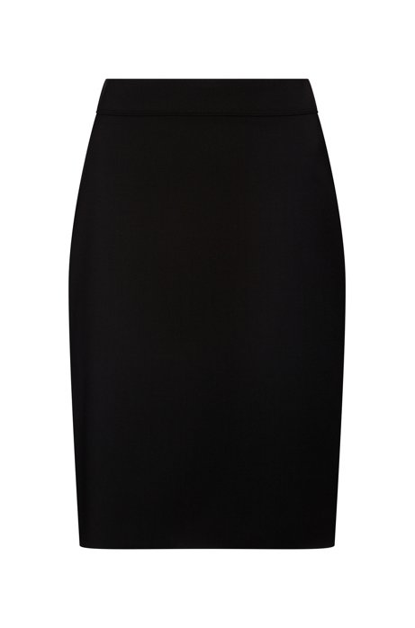 Slim-fit skirt in lightly worsted stretch wool, Black