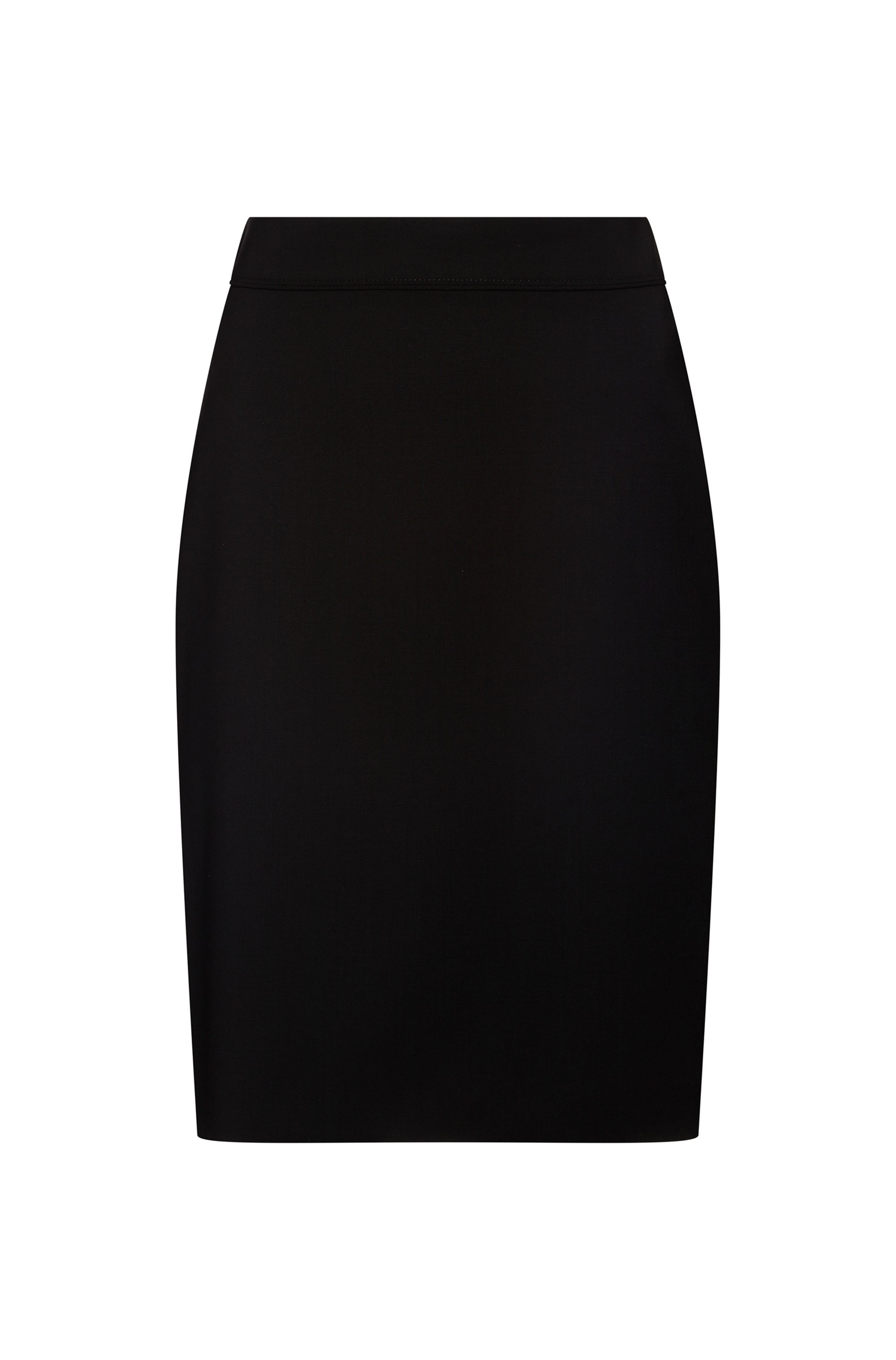 High-waisted pencil skirt in worsted stretch virgin wool, Black