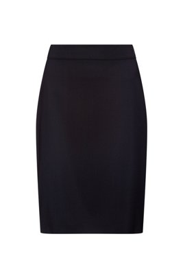 High-waisted pencil skirt in worsted stretch virgin wool, Dark Blue