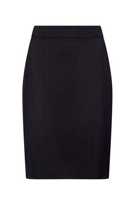 Slim-fit skirt in lightly worsted stretch wool, Dark Blue