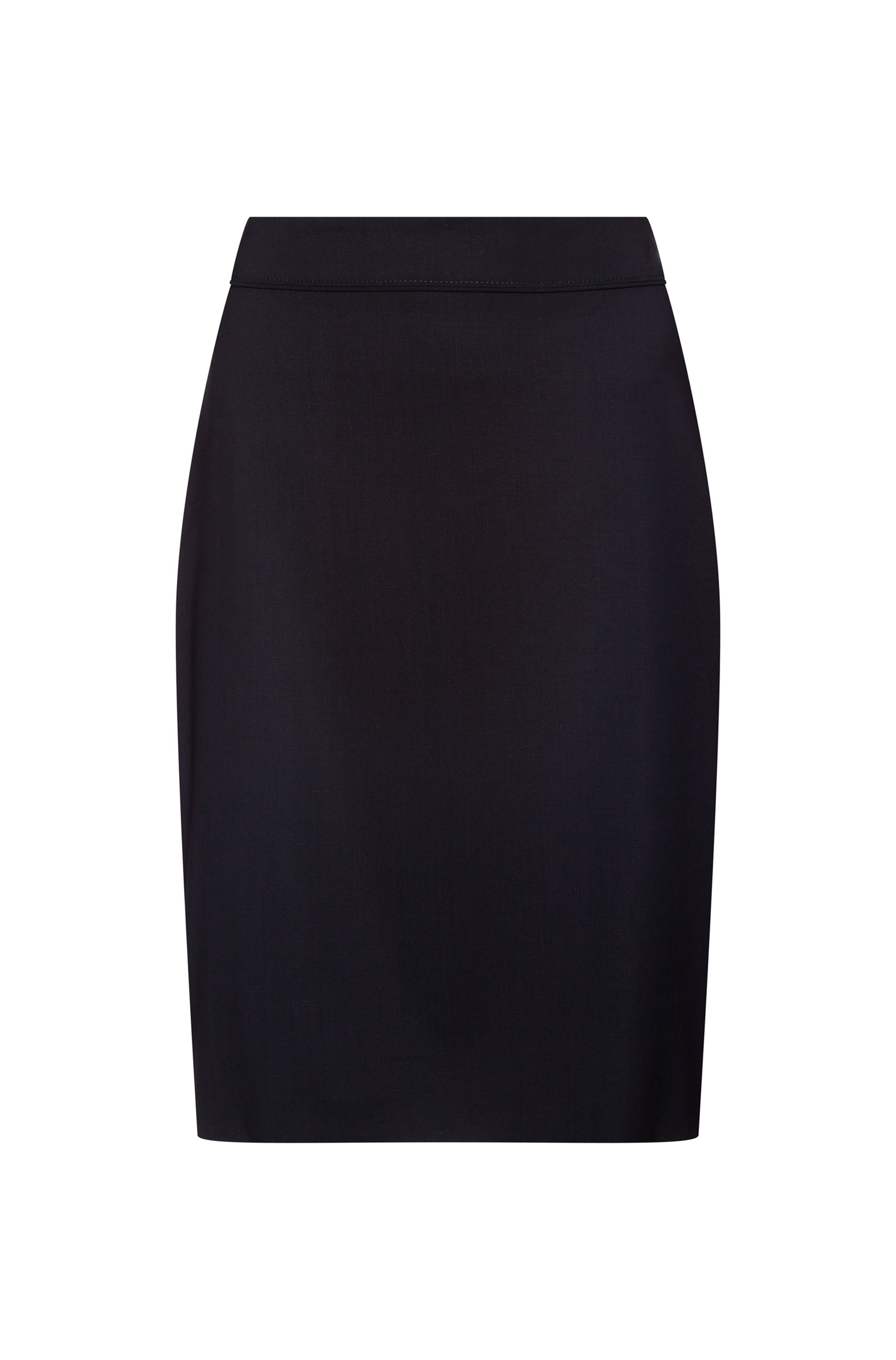 High-waisted pencil skirt in worsted stretch virgin wool, White