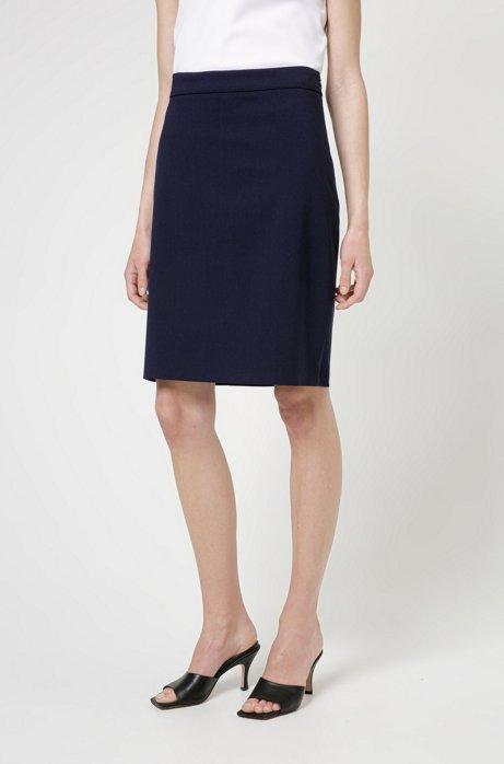 Slim-fit skirt in lightly worsted stretch wool, Dark Blue