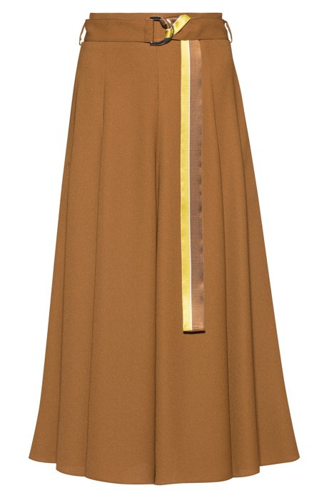 Midi skirt in midweight fabric with striped belt, Khaki