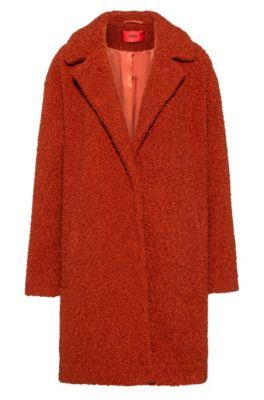 Regular-fit mantel met drukknoopsluiting, Bruin