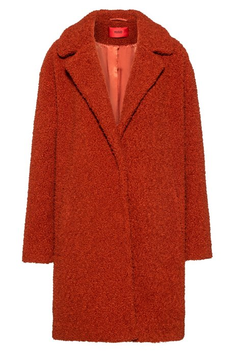 Regular-fit coat with press-stud closure, Brown