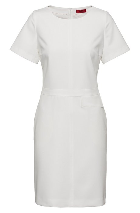 Short-sleeved dress with flap pocket at waist, White