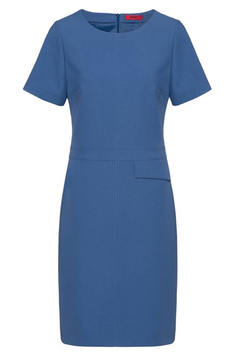 Short-sleeved dress with flap pocket at waist, Blue