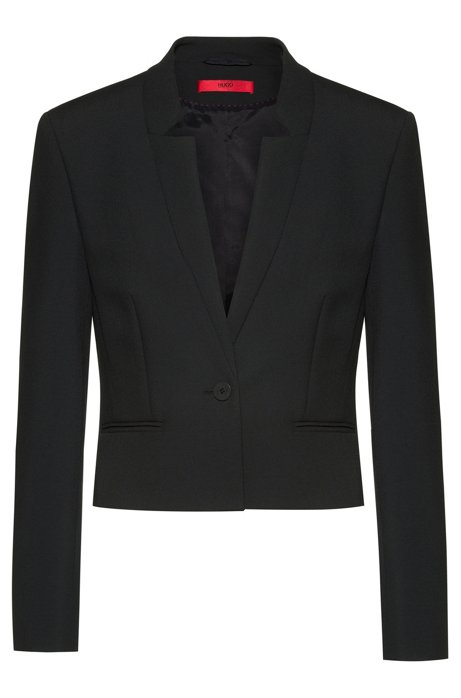Regular-fit jacket with slit cuffs and cropped length, Black