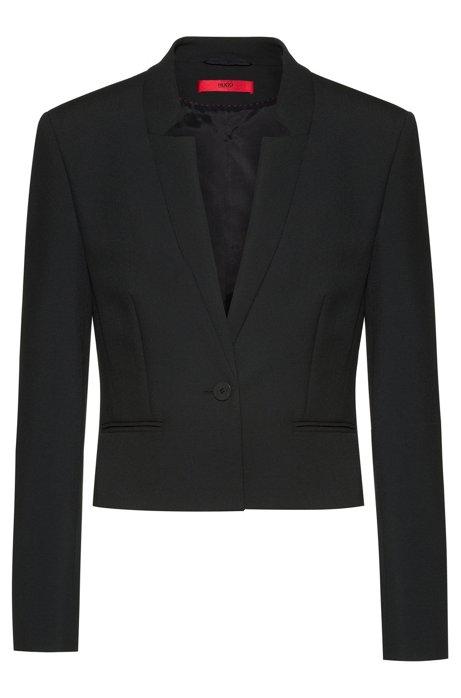 Regular-fit blazer met splitboorden en kortere lengte, Zwart
