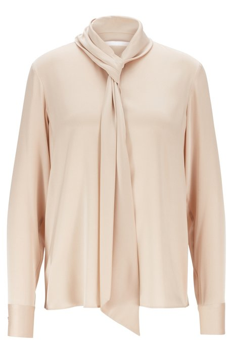 Crepe-de-chine blouse with tie neckline, Beige