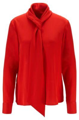 Camicetta in crêpe de Chine con scollatura effetto cravatta, Rosso
