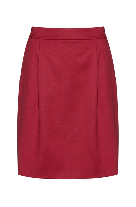 Mini skirt in stretch virgin wool with front pleats, Red